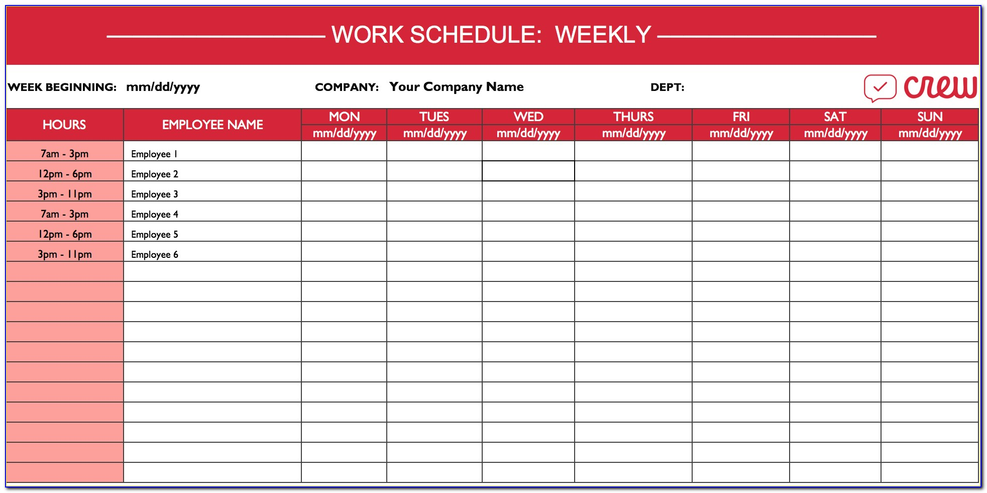 Weekly Employee Work Schedule Template
