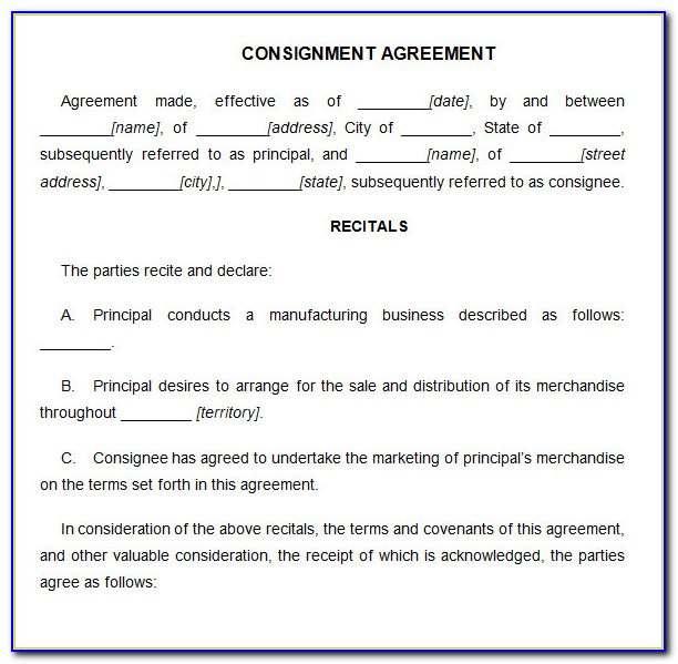 What Is A Consignment Sales Agreement