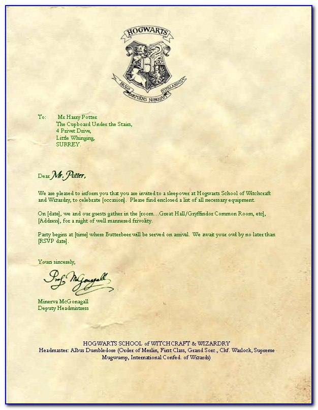 What Is A Hogwarts Acceptance Letter