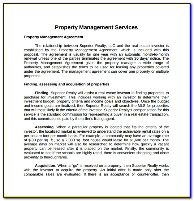 What Is A Property Management Proposal