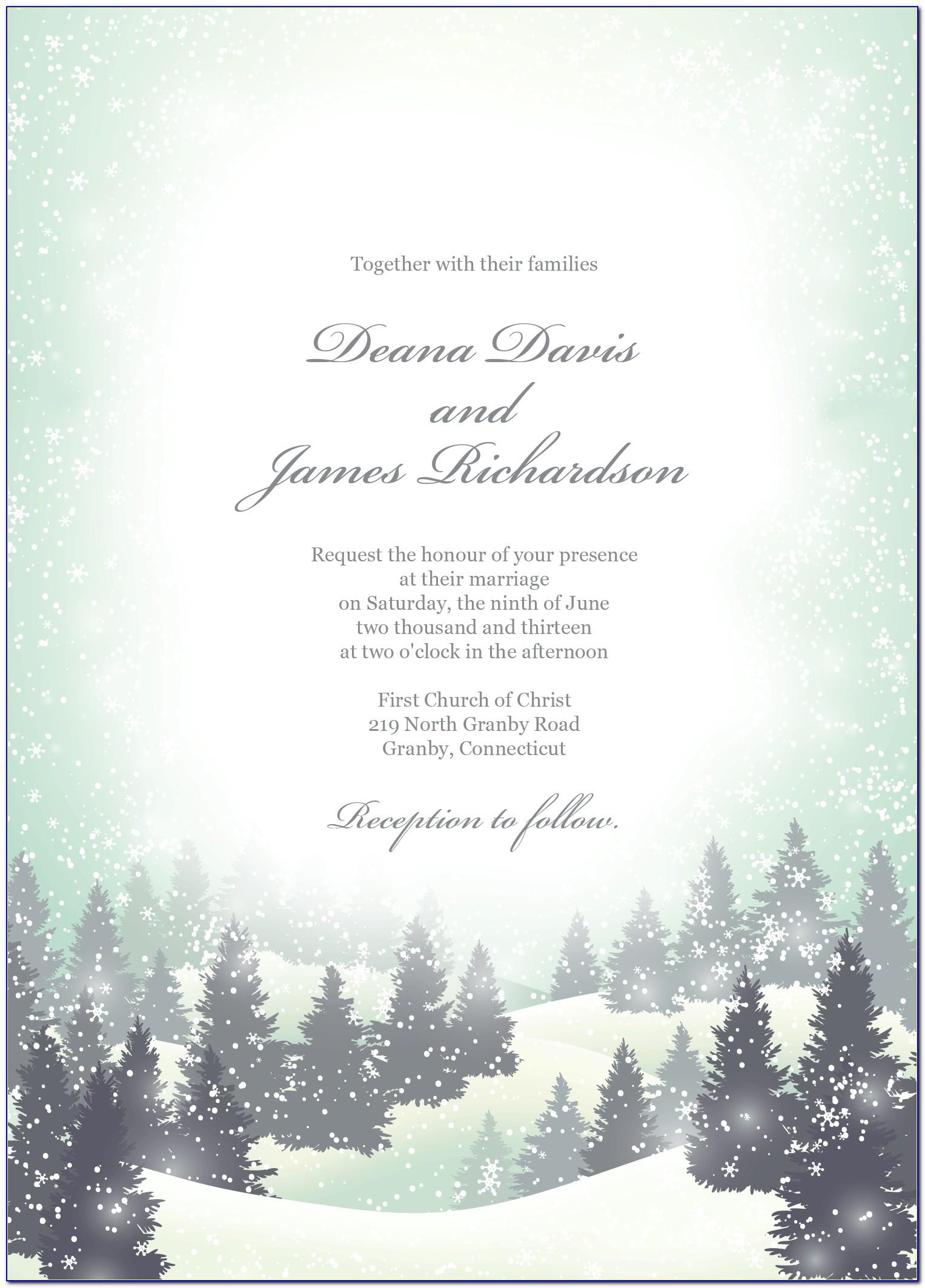 Winter Wonderland Invitation Template Free