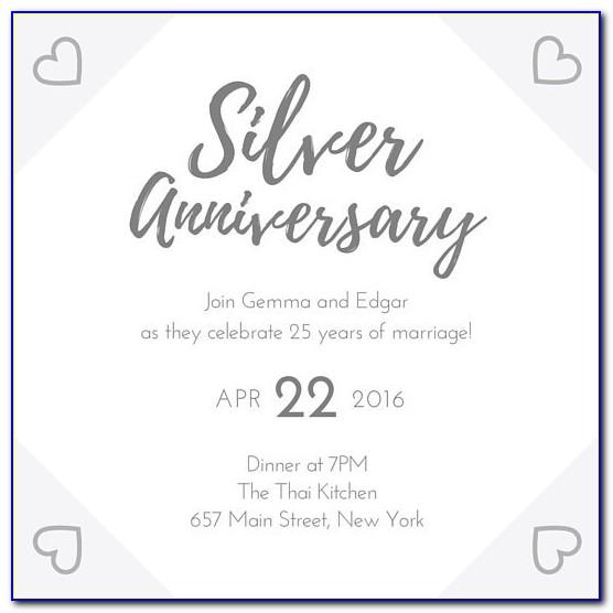 Wording For Silver Wedding Anniversary Invitations