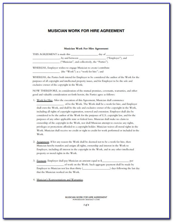 Work For Hire Agreement Contract