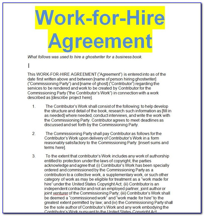 Work For Hire Agreement Form