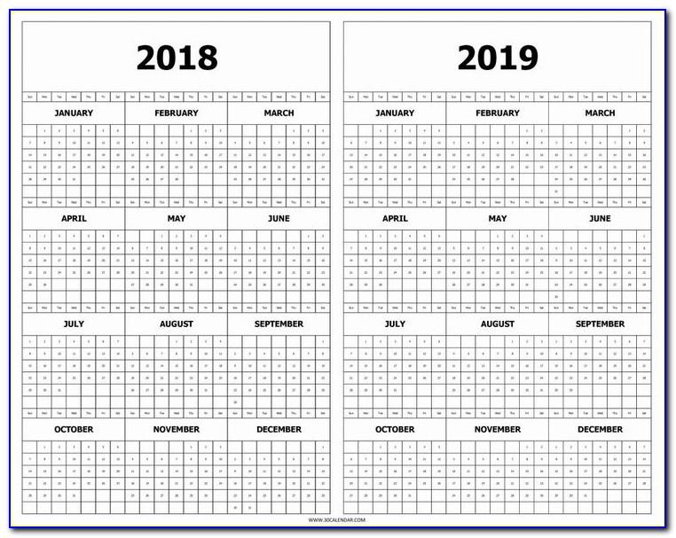Year At A Glance Calendar Template 2019