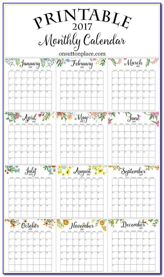 Year At A Glance Calendar Template Word