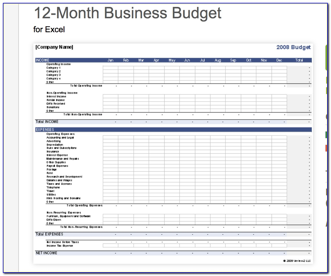 Yearly Business Budget Template Excel Free