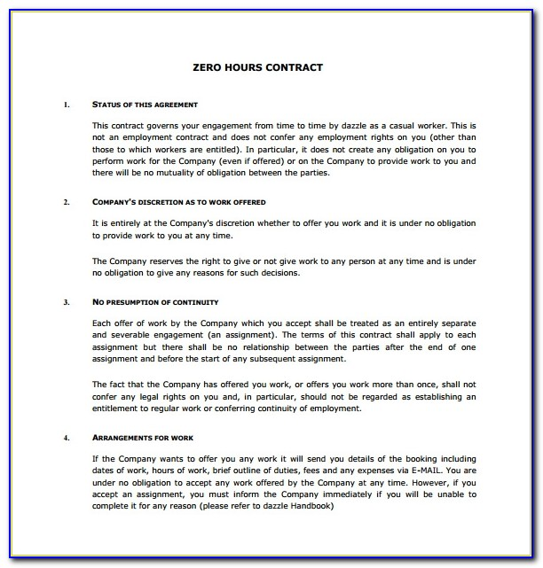 Zero Hours Employment Contract Template Uk