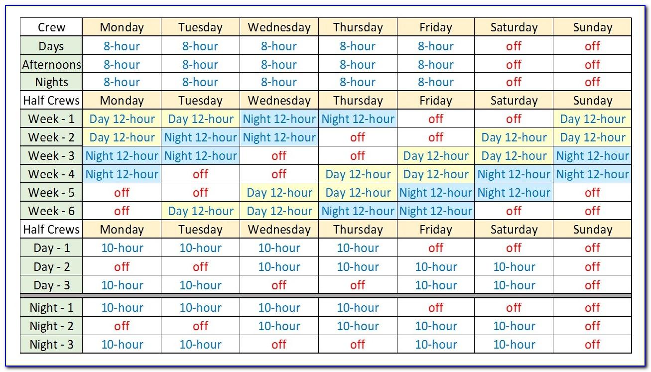 12 Hour Shift Work Schedule Template