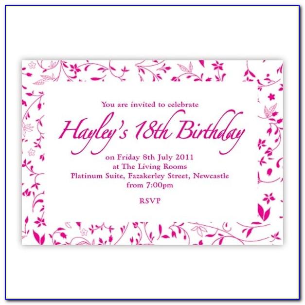 18th Birthday Invitation Layout