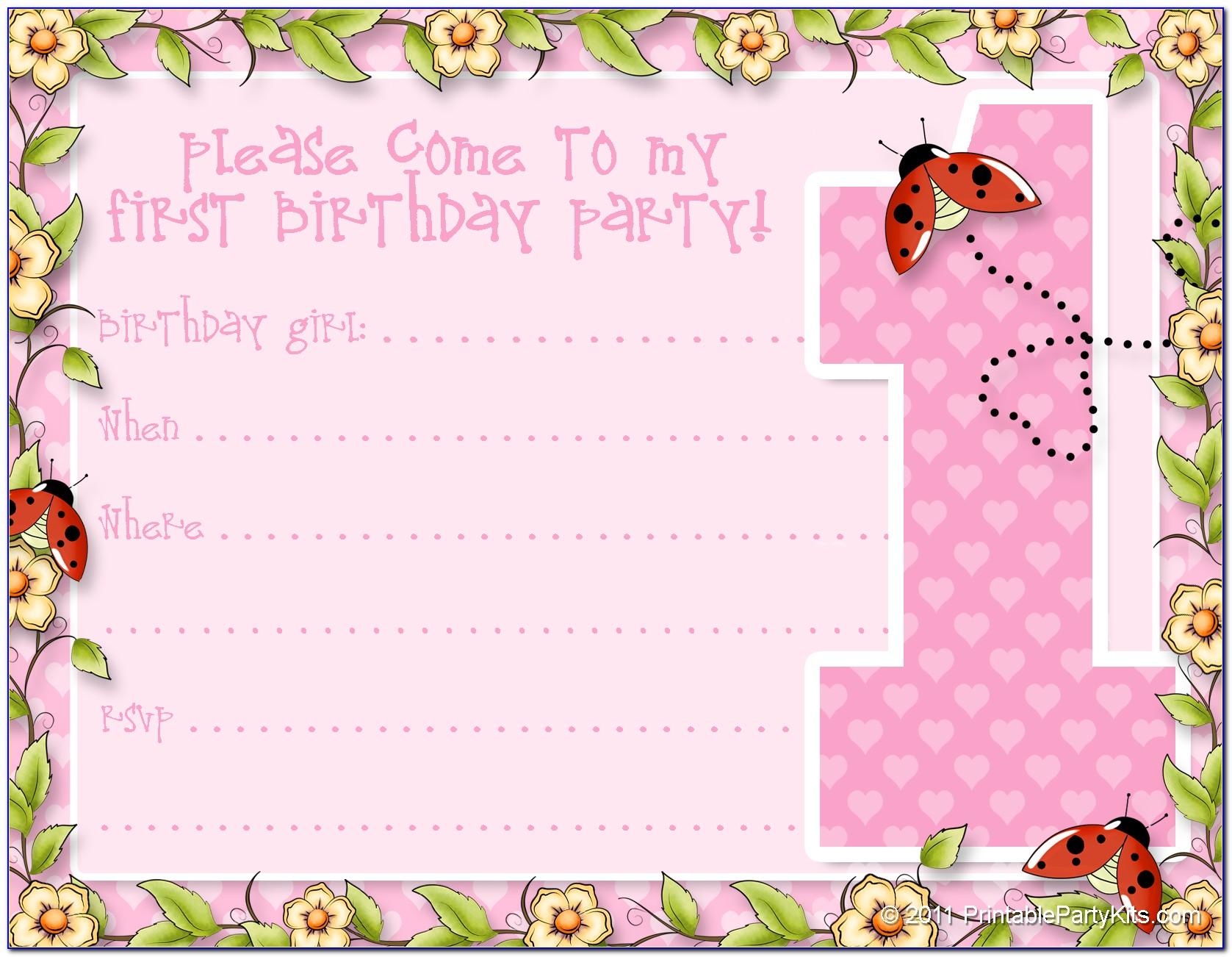 1st Birthday Invitation Template Free Printable