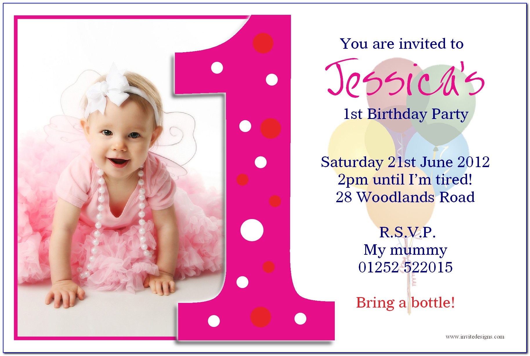 1st Birthday Invitations Girl Template Free
