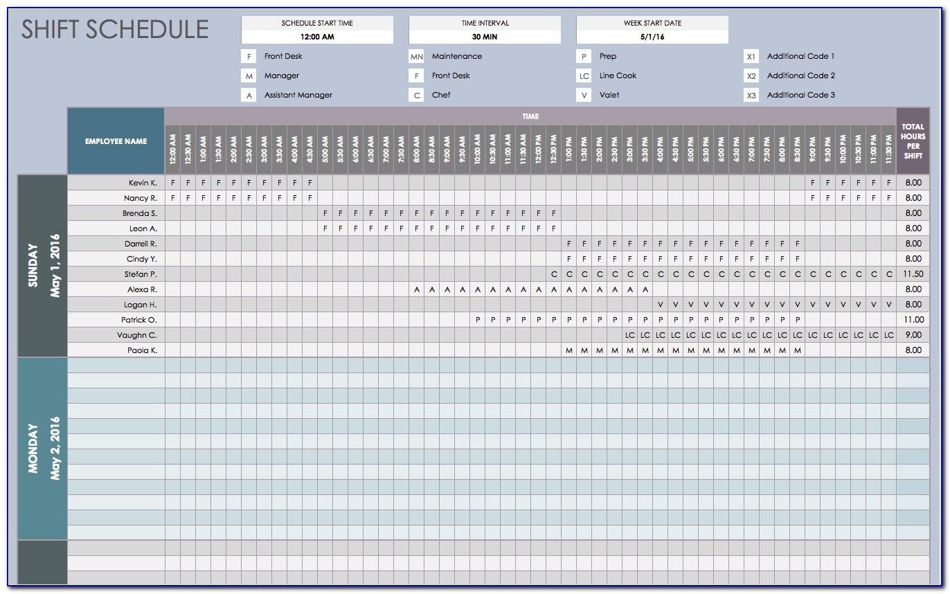 24 Hour Shift Work Schedule Template