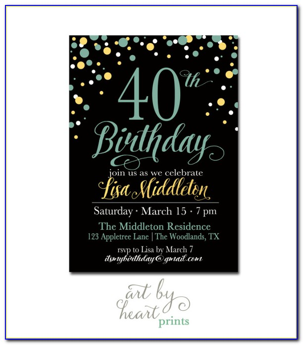 40th Birthday Invite Template Word