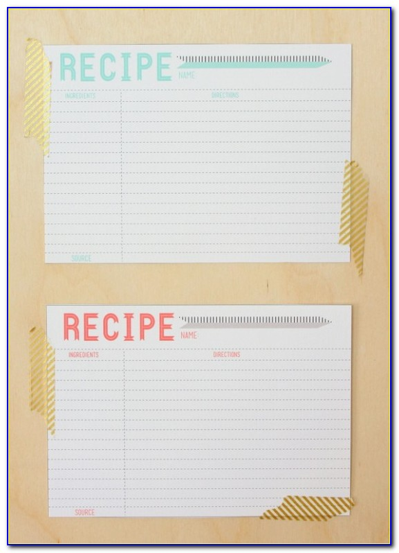 5x7 Recipe Card Template Free
