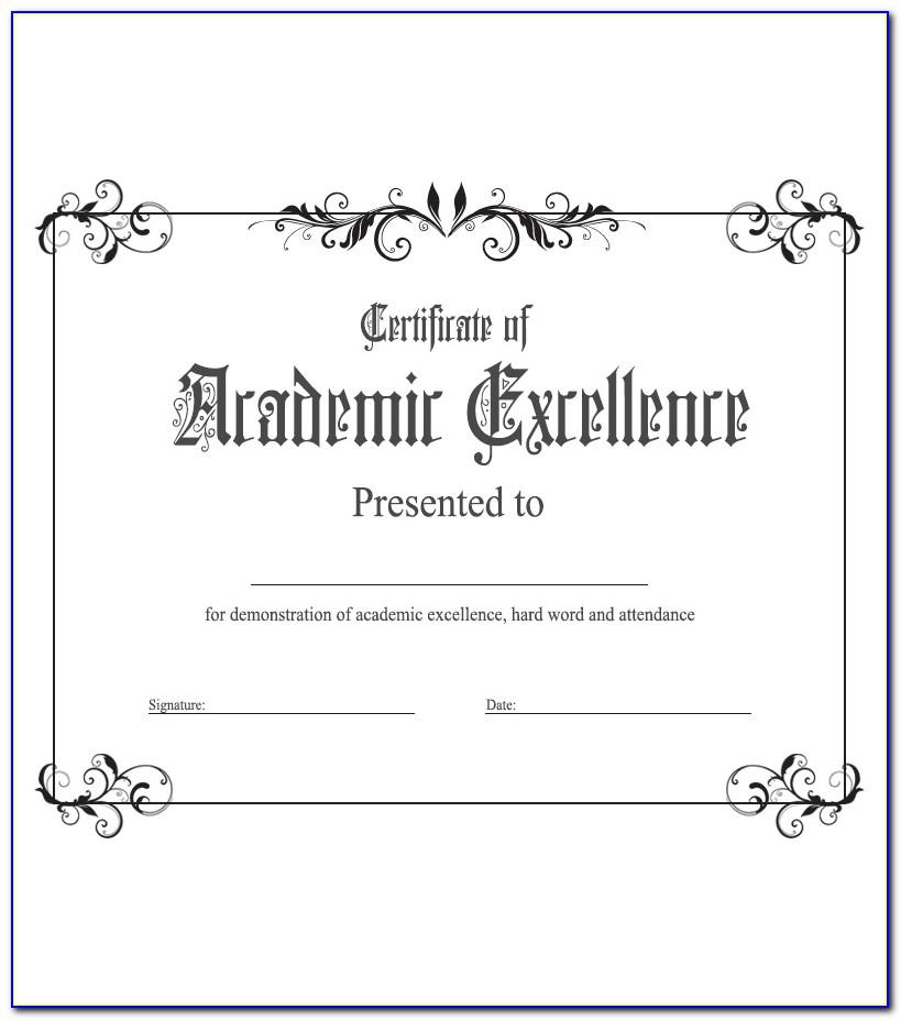 Academic Award Certificate Template Free