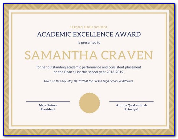 Academic Excellence Award Certificate Template