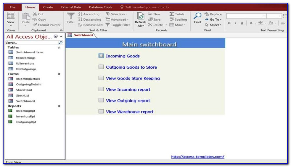 Access Inventory Management Control Templates