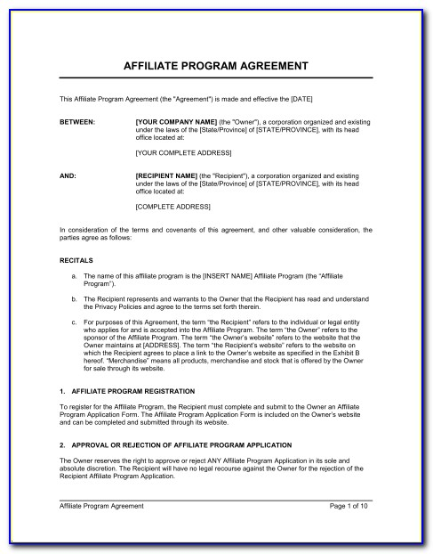 Affiliate Marketing Agreement Form