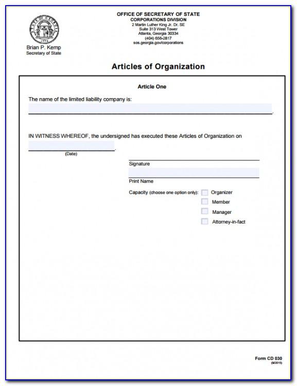 Amend The Articles Of Organization Template Georgia