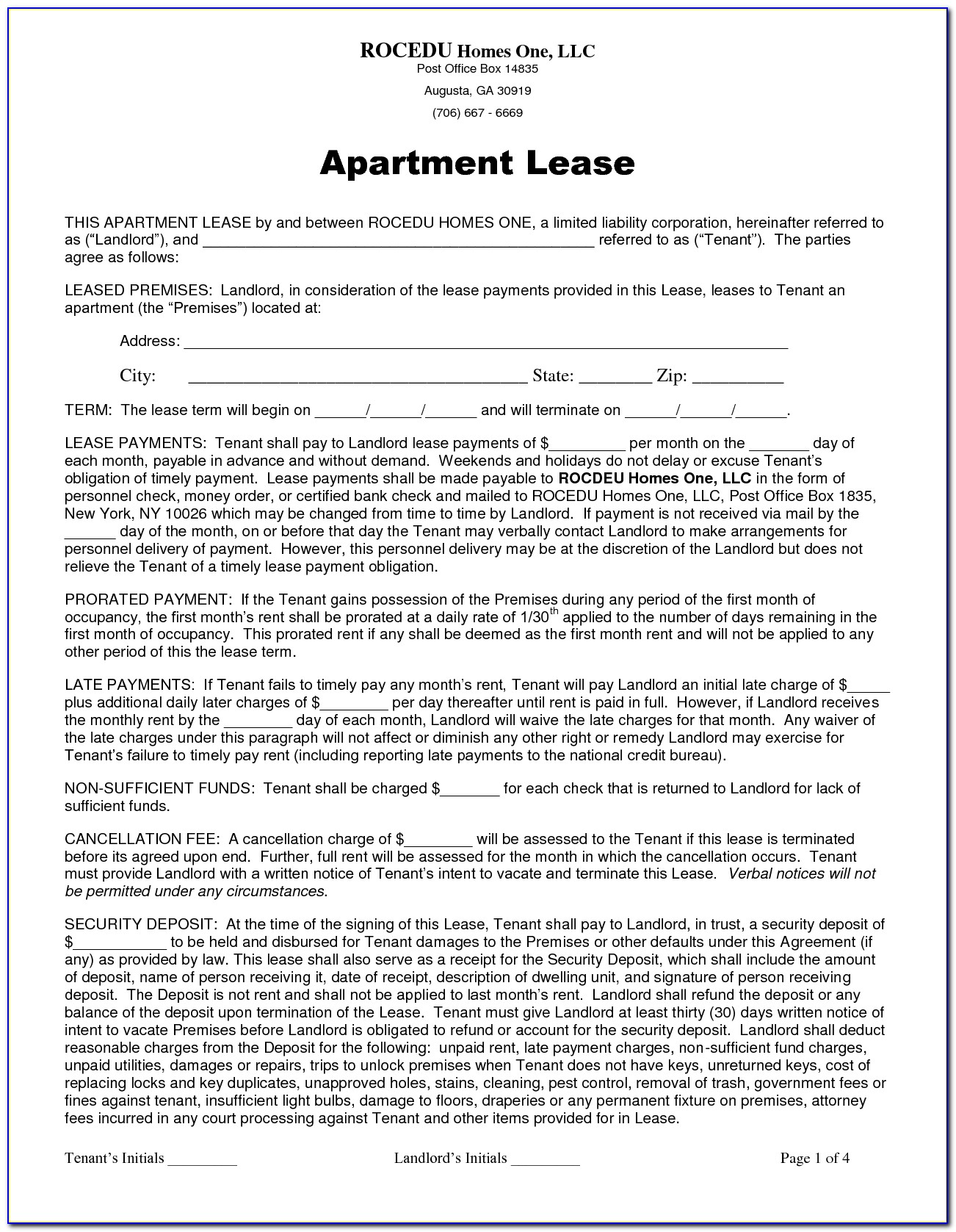 Apartment Rent Contract Template
