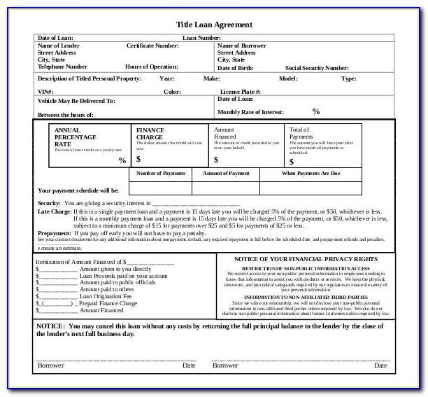 Auto Title Loan Agreement Template