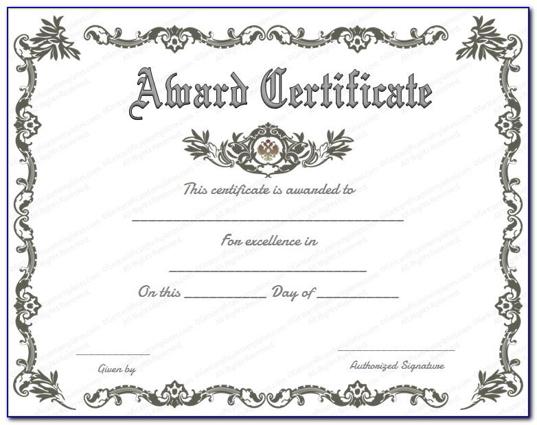Award Certificate Templates Free Printable