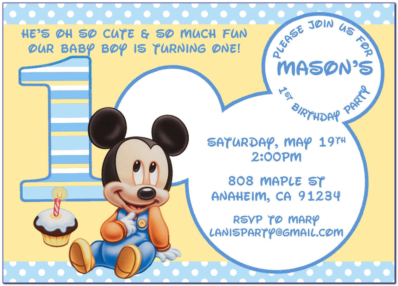 Baby Mickey 1st Birthday Invitation Template