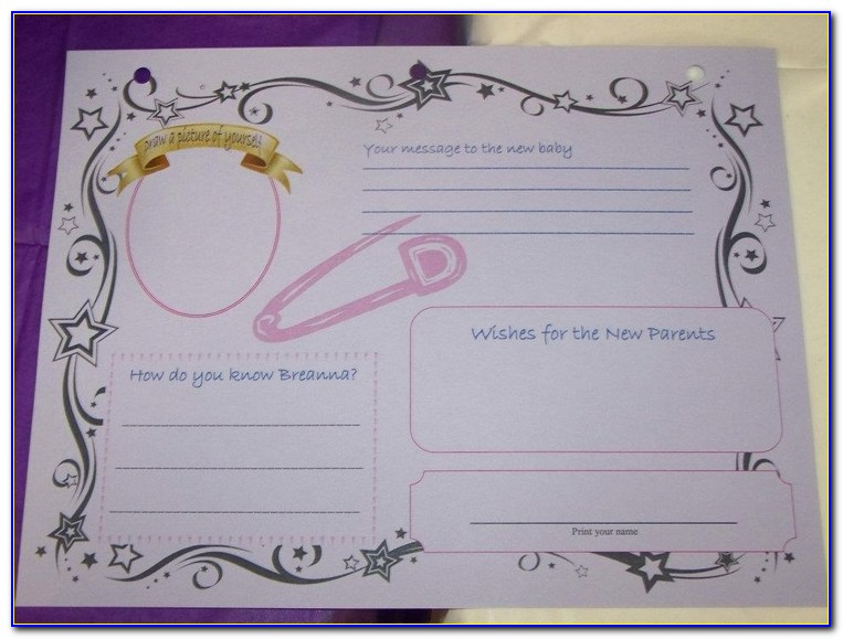Baby Shower Guest Book Page Template