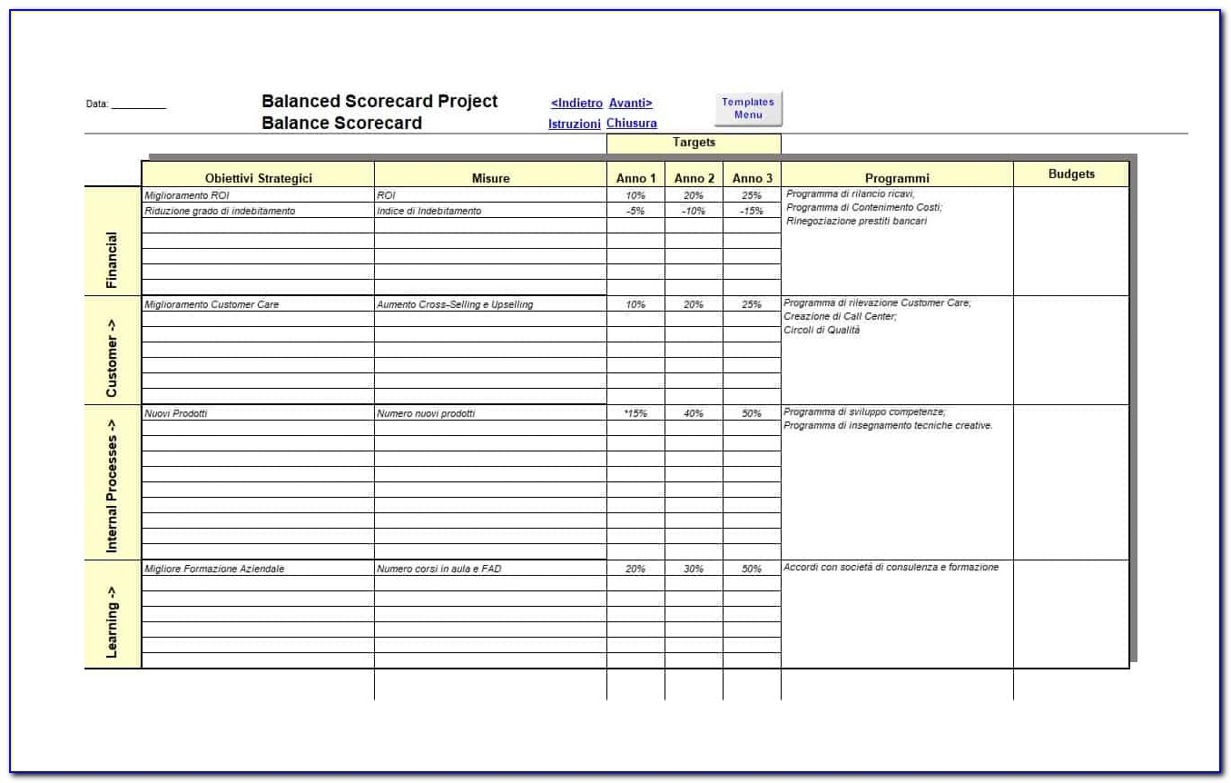 Balanced Scorecard Excel Template Free Download