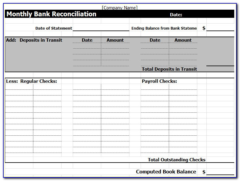 Bank Statement Template Excel 2007