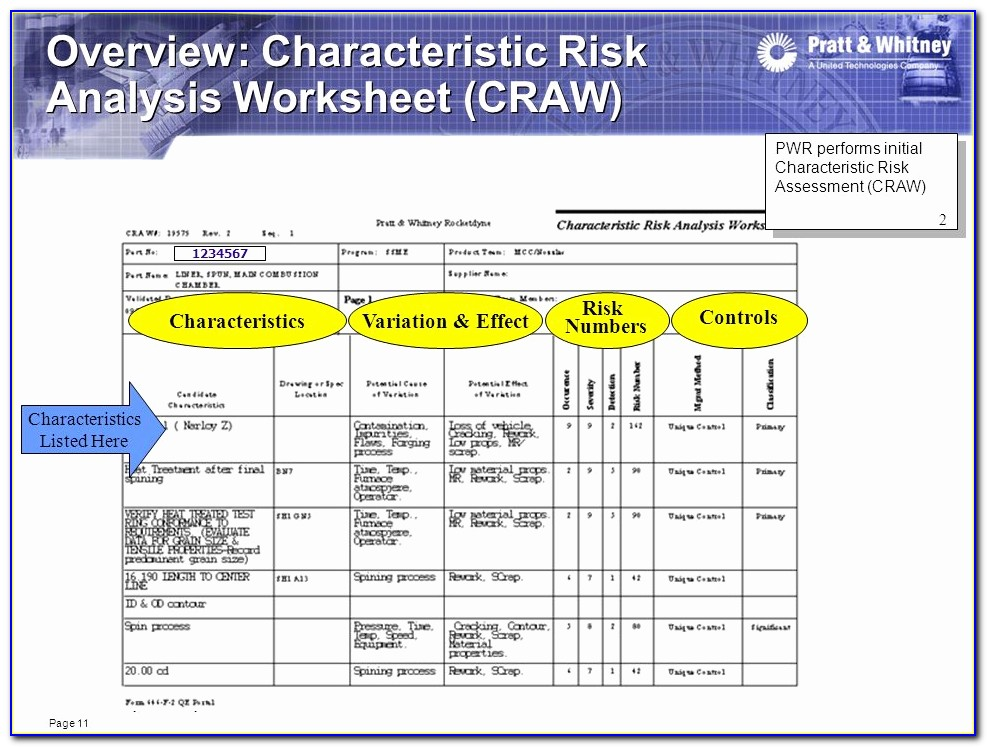 Risk Assessment Spreadsheet And Supplier Quality Requirements Guide ? Canoga Park March