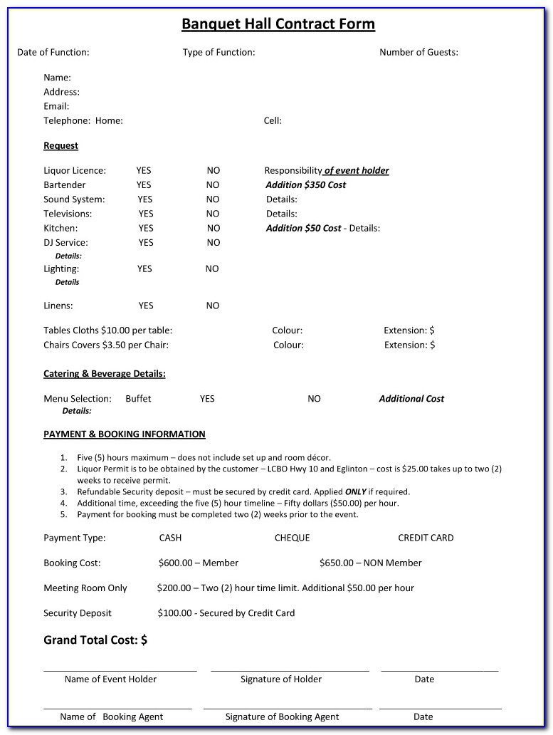 Banquet Hall Rental Contract Template