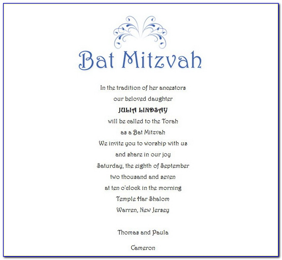 Bar Mitzvah Program Samples