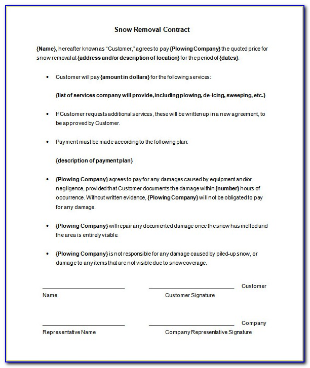 Basic Snow Removal Contract Form