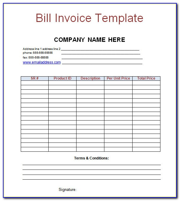 Billing Invoice Template Word Download