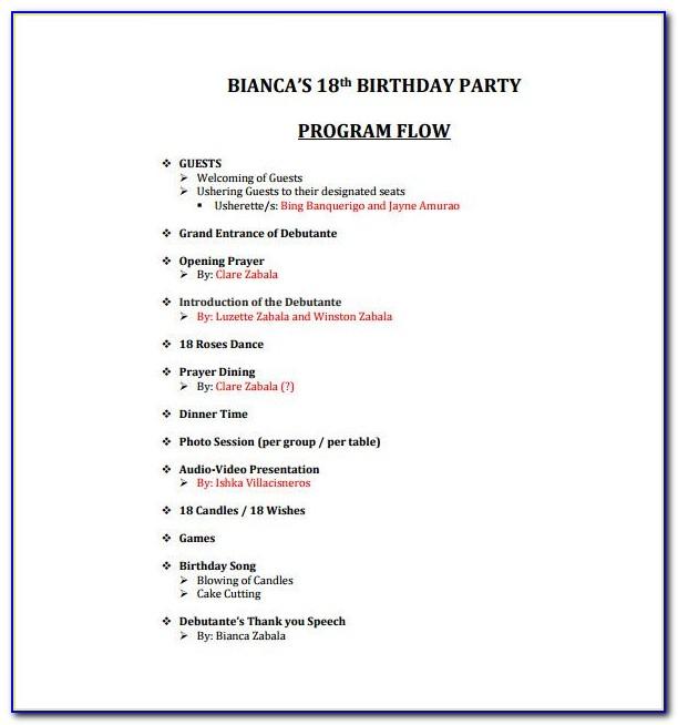 Birthday Party Event Program Template