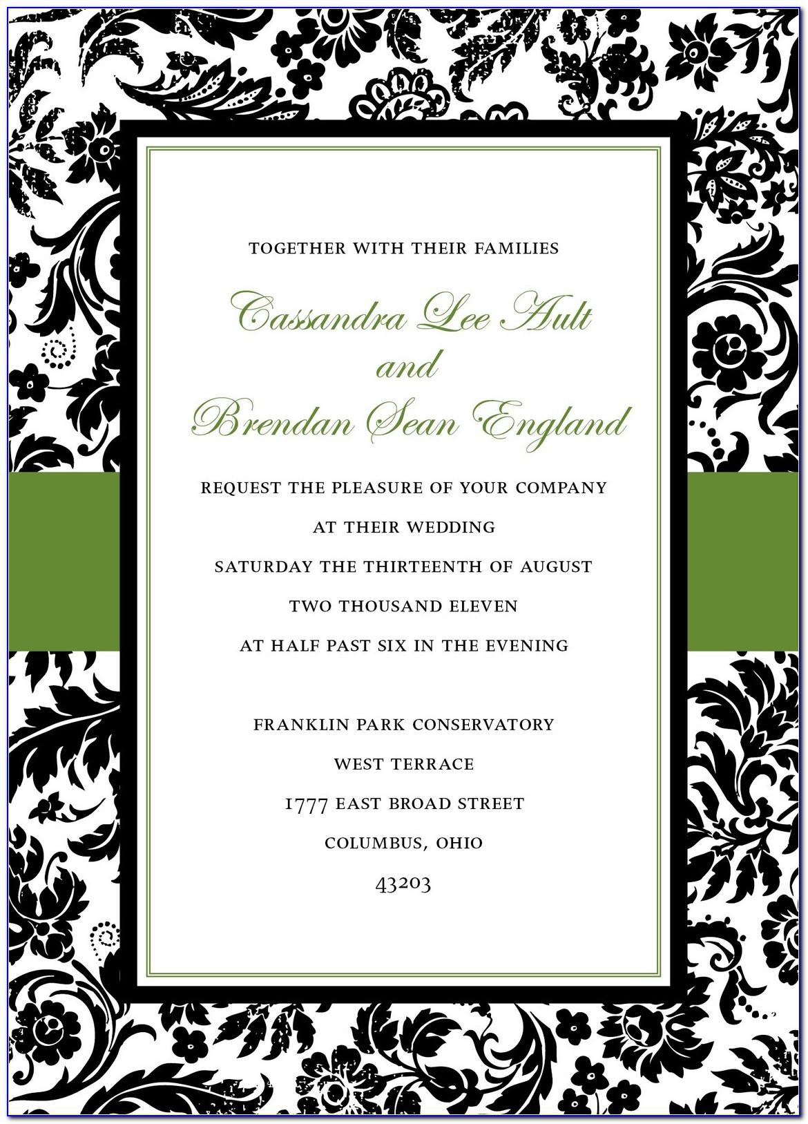 Black And White Damask Invitation Template