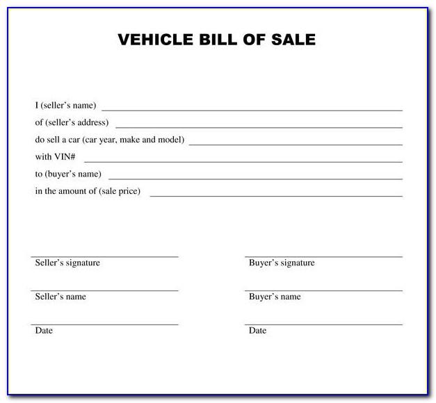 Blank Bill Of Sale Template Pdf