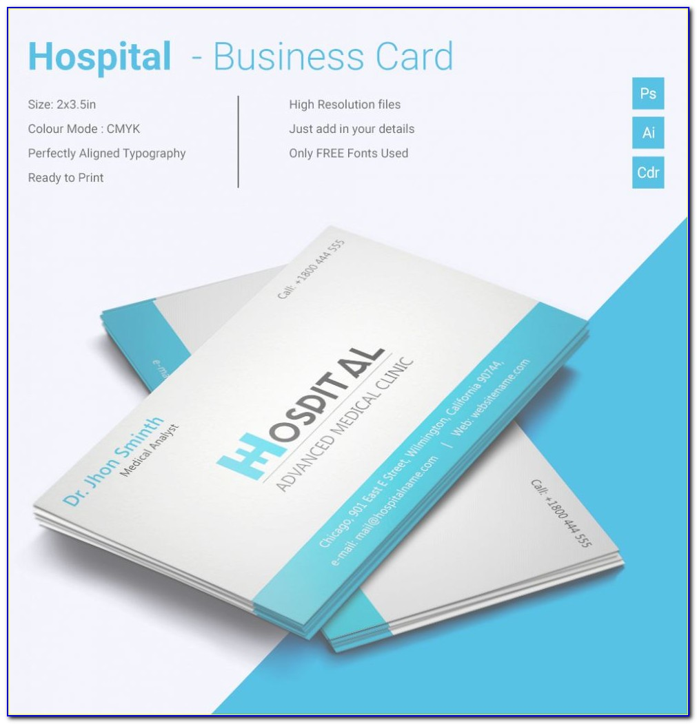 Word Template For Business Cards Unique Simple Hospital Business Card Template | Free & Premium Templates