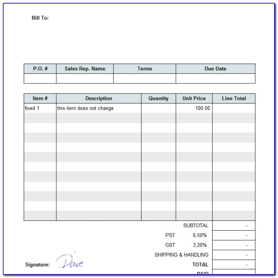 Blank Invoice Template For Openoffice