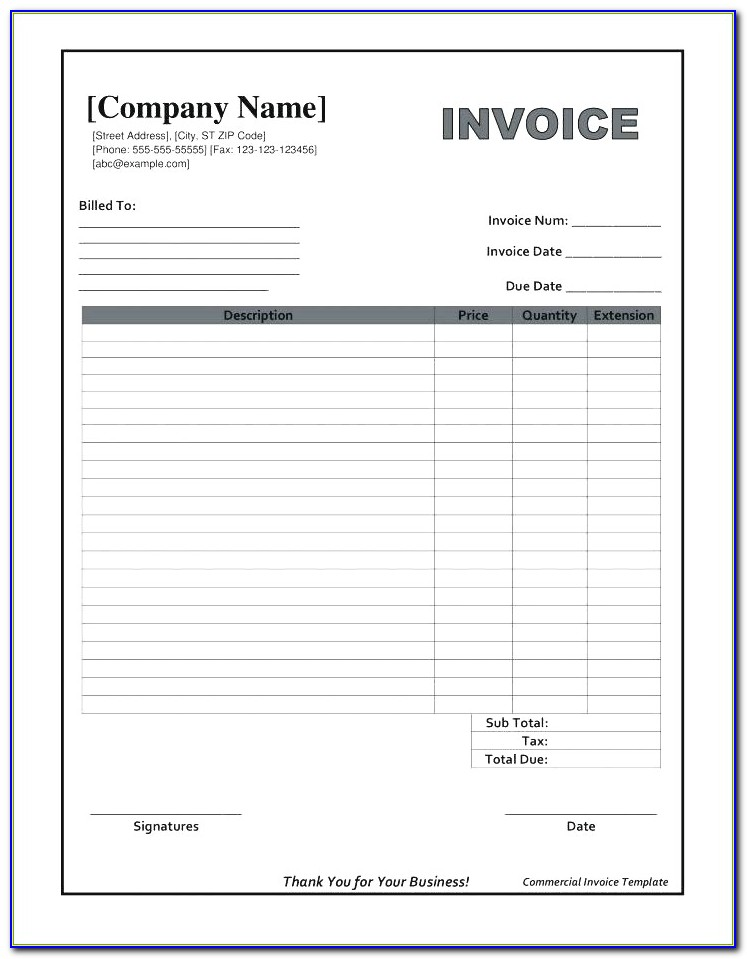 Blank Invoice Template Pdf Blank Invoice Form Pdf ? Kkey