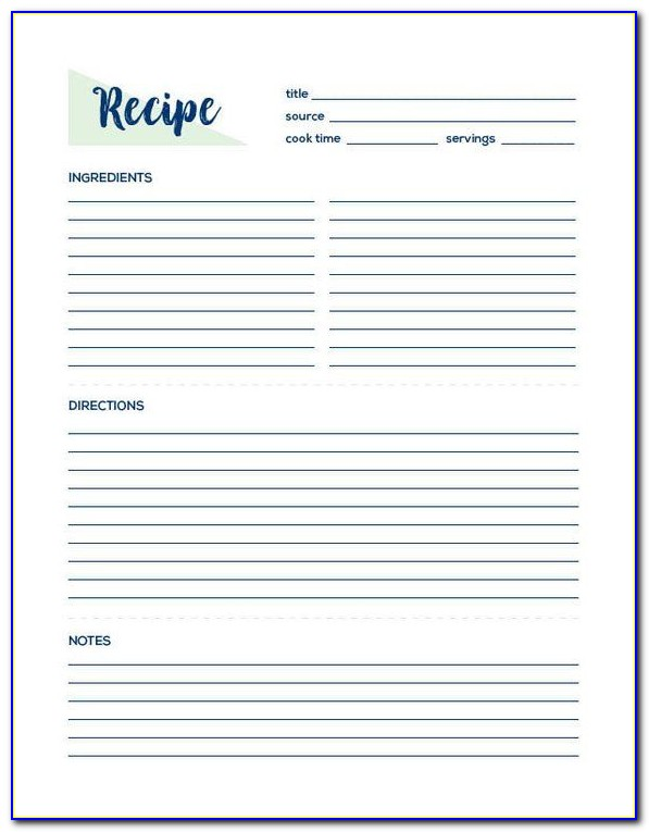Blank Recipe Template Full Page