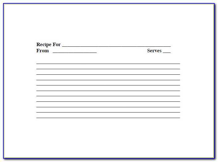 Blank Recipe Template Printable