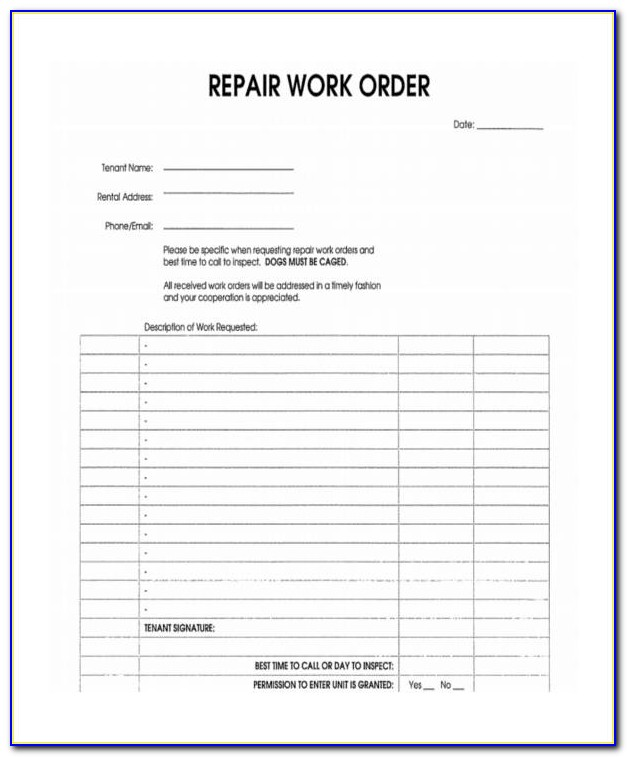 Blank Work Order Forms