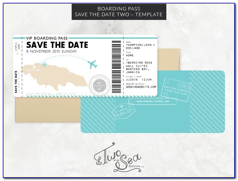 Boarding Pass Save The Date Template Free