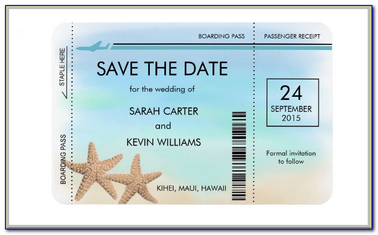 Boarding Pass Save The Date Wedding Invitations
