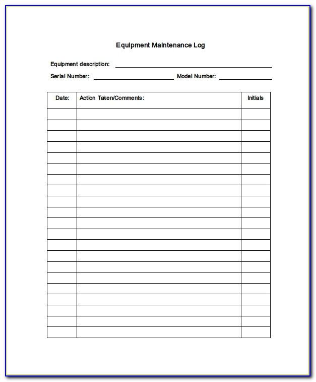Boat Maintenance Log Book Template
