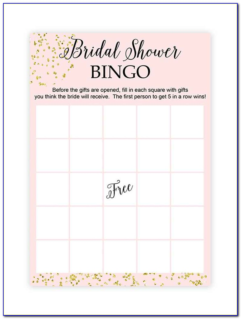 Bridal Bingo Template Free