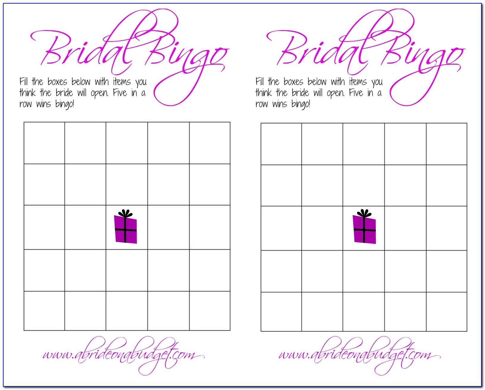 Bridal Bingo Template Microsoft Word
